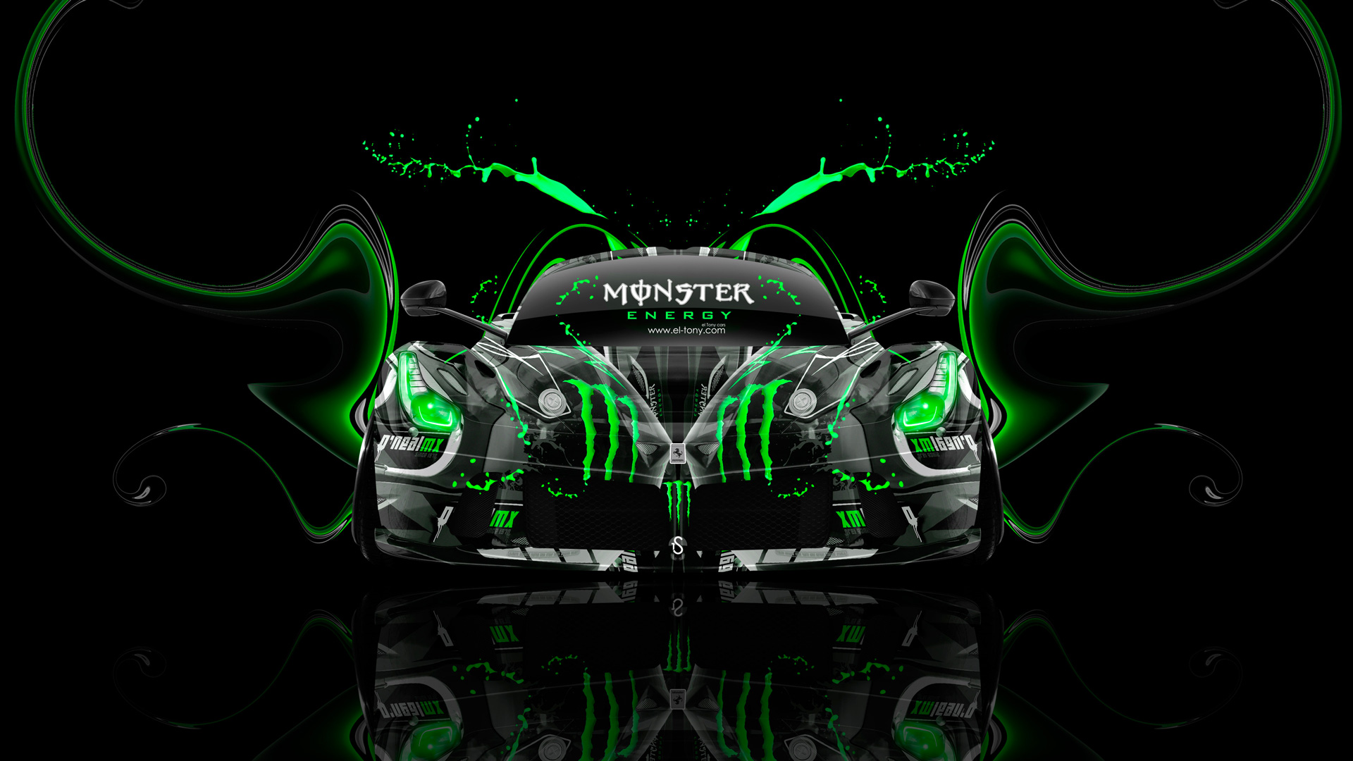 Superbe Monster Energy Ferrari Laferrari Front Plastic Car 2014