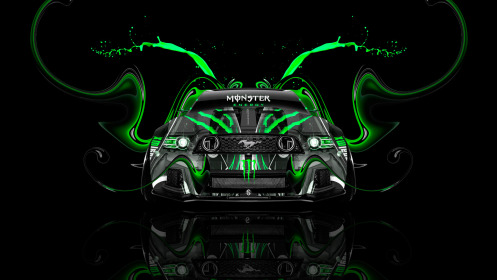 Monster-Energy-Ford-Mustang-GT-Tuning-Muscle-Front-Green-Acid-Plastic-Car-2014-HD-Wallpapers-design-by-Tony-Kokhan-[www.el-tony.com]