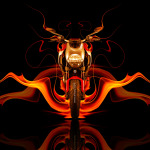 Moto Ducati Diavel Front Fire Abstract Bike 2014