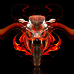 Moto Honda VFR1200F Front Fire Abstract Bike 2014