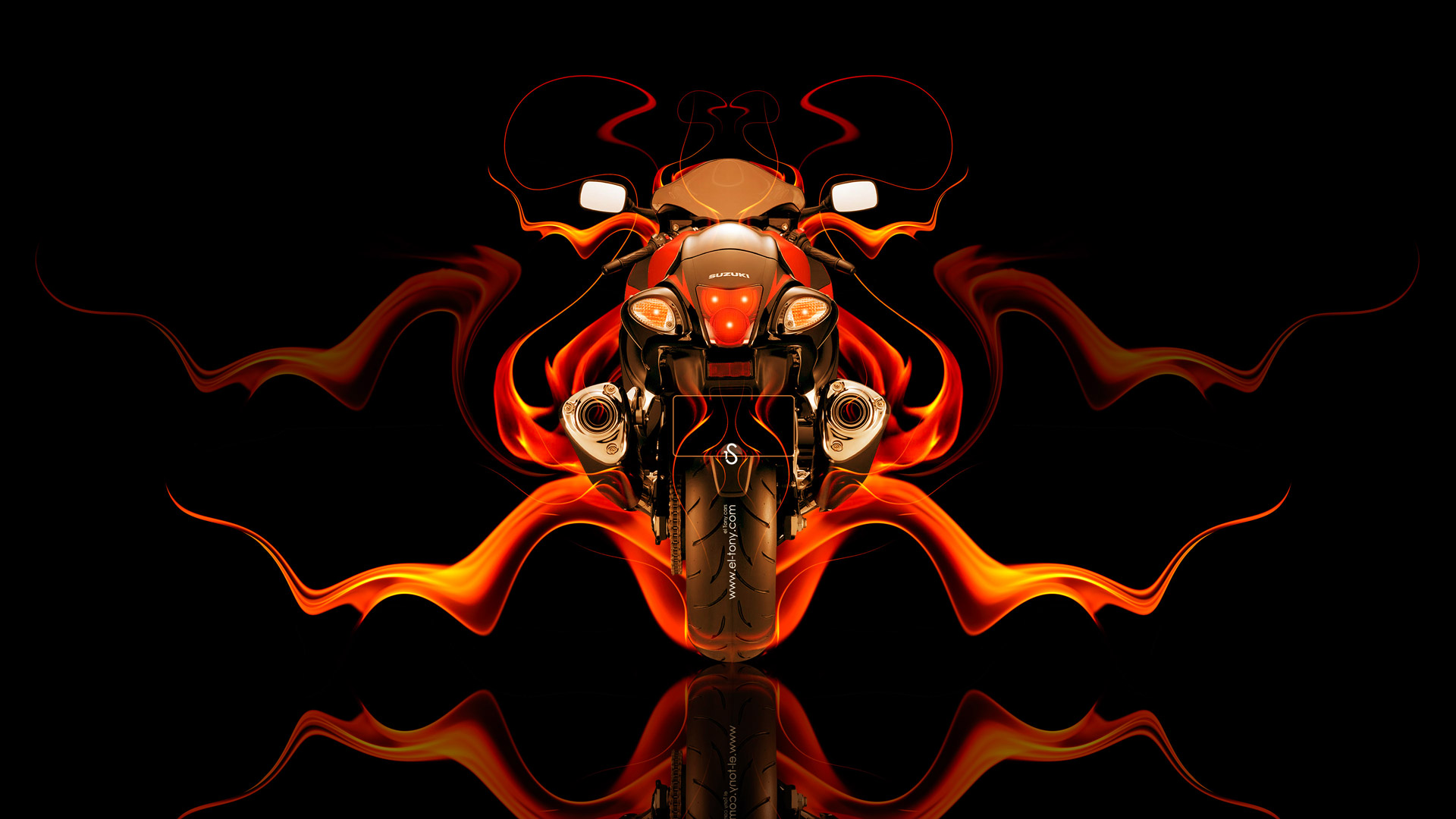 Superieur Moto Suzuki GSX 1300R Hayabusa Back Fire Abstract