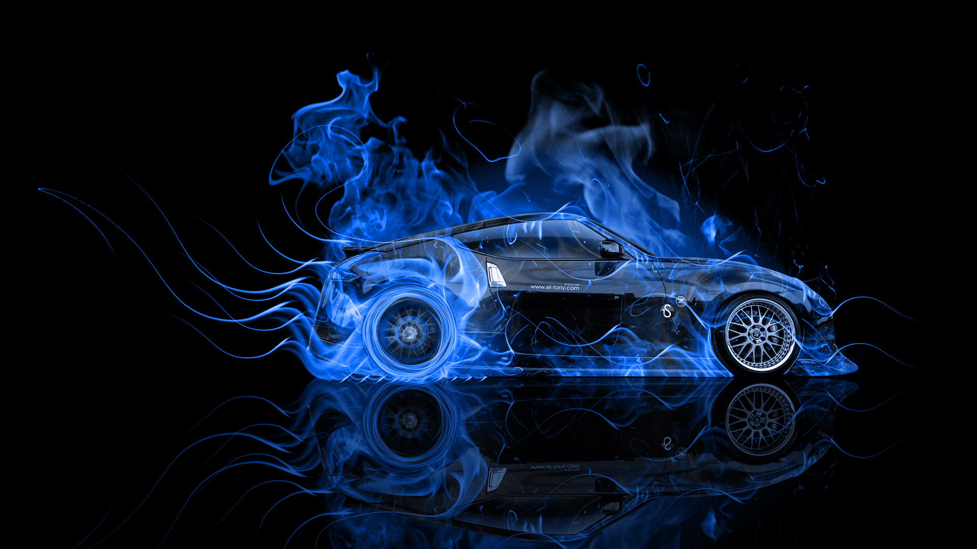... Nissan 370Z JDM Side Blue Fire Abstract Car  ...