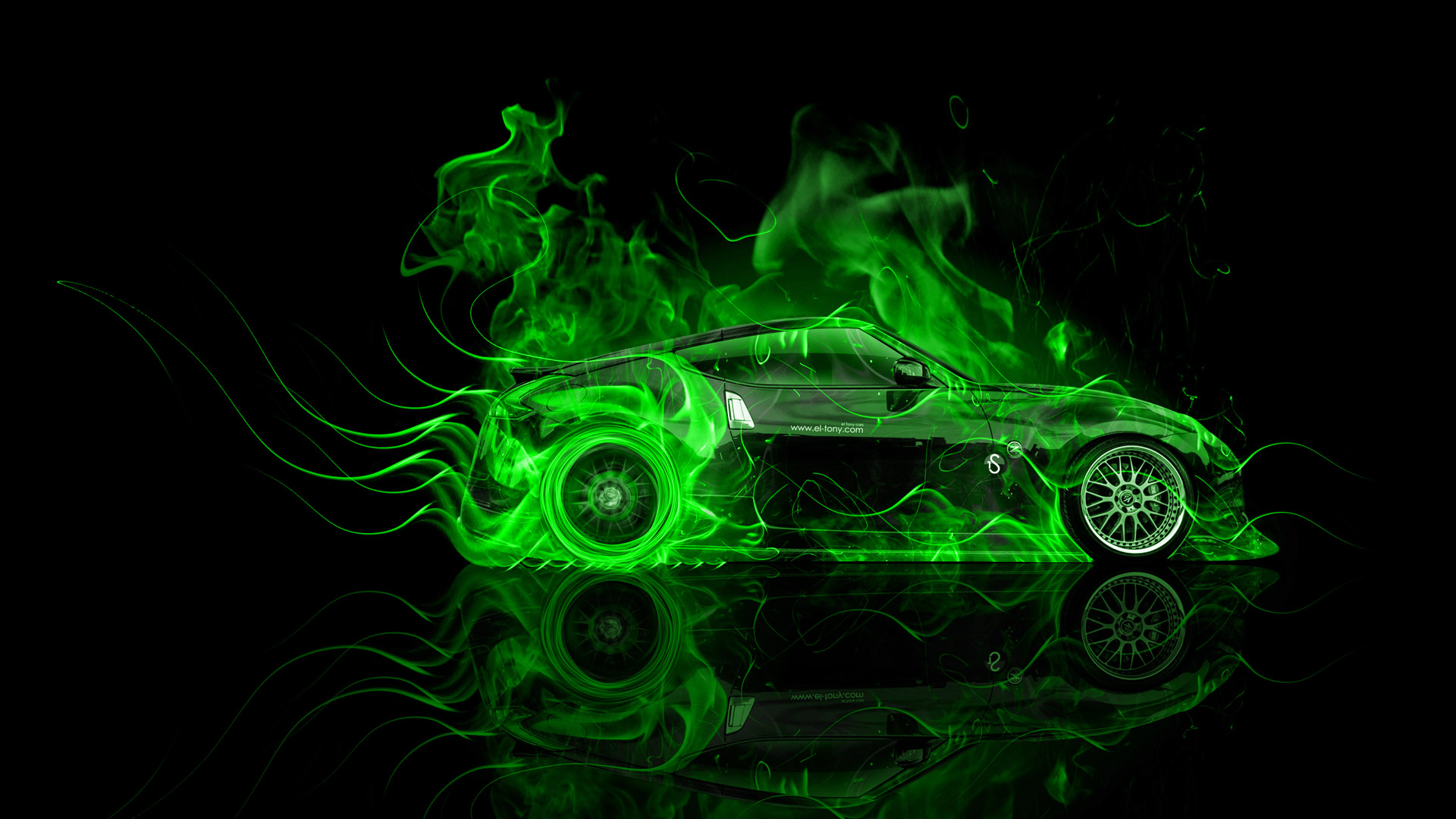 Nissan 370Z Side Fire Abstract Car 2014 | el Tony