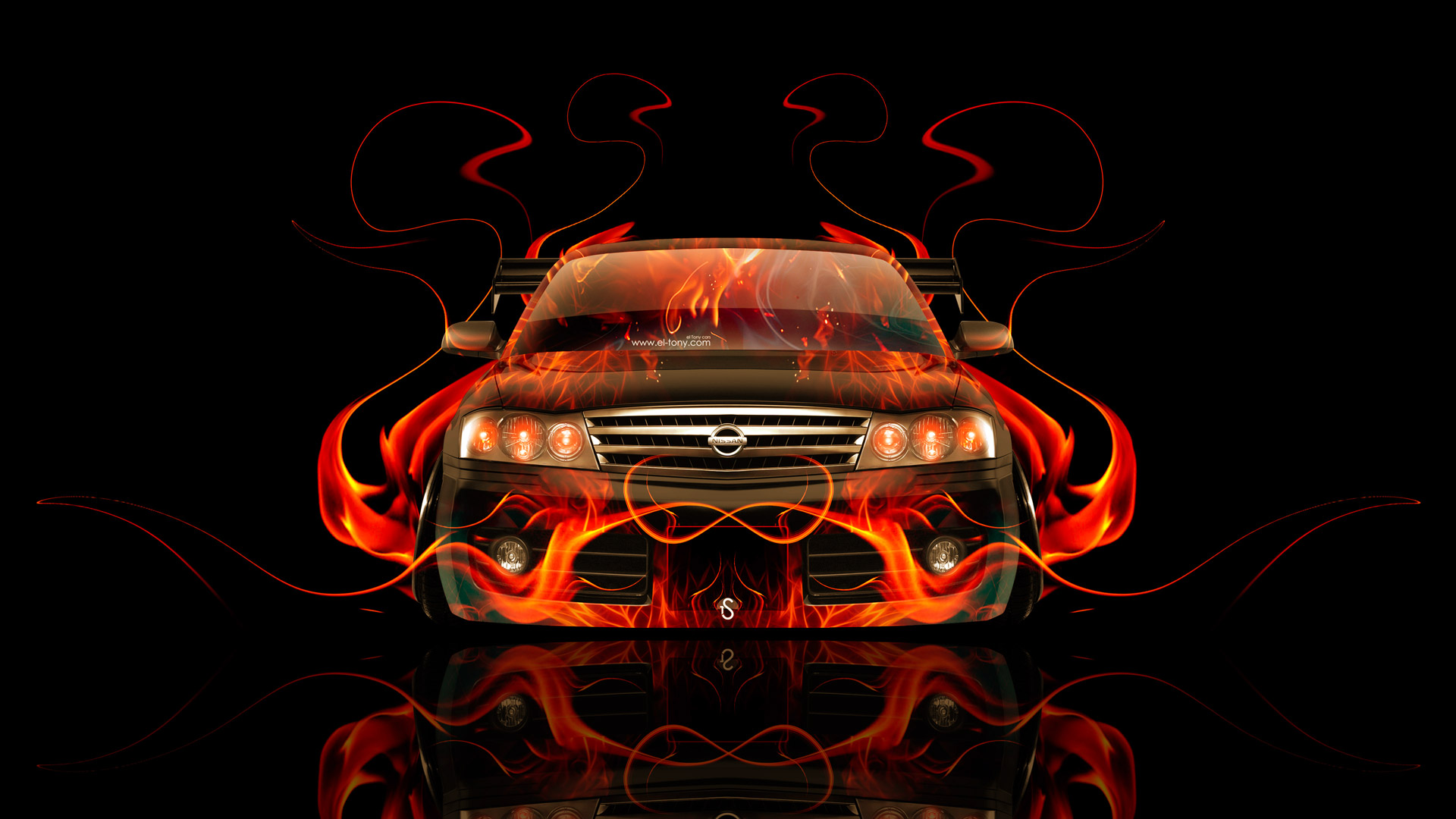 Lovely Nissan Gloria JDM Front Fire Abstract Car 2014