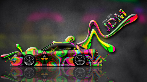 Nissan-Silvia-S13-JDM-Side-Super-Plastic-Car-2014-Art-Multicolors-HD-Wallpapers-design-by-Tony-Kokhan-[www.el-tony.com]