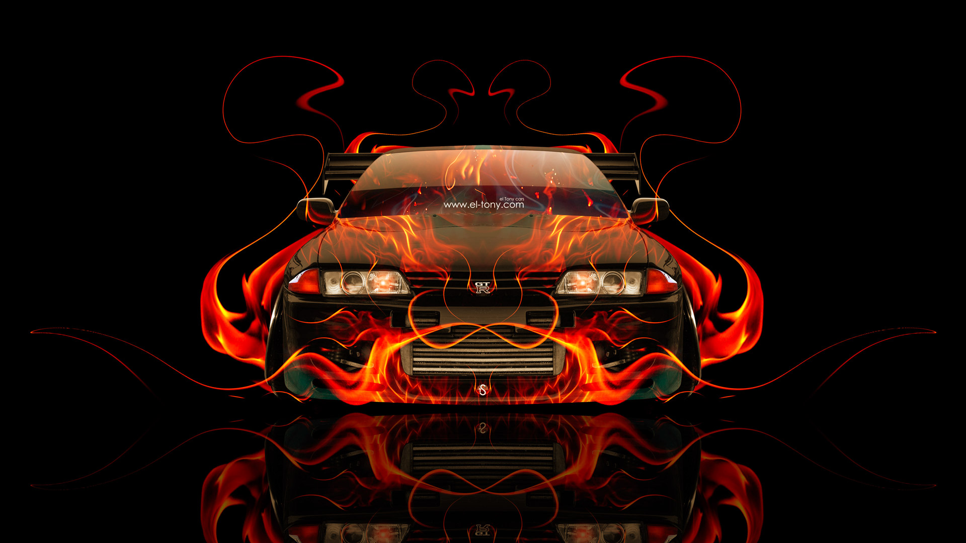 Beau Nissan Skyline GTR R32 JDM Front Fire Abstract