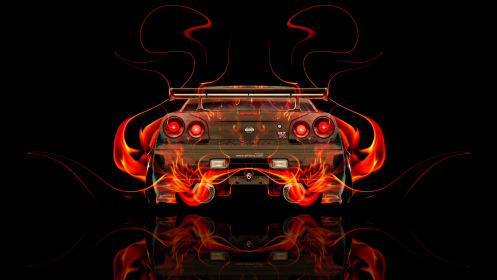 Nissan-Skyline-GTR-R34-JDM-Back-Fire-Abstract-Car-2014-Art-HD-Wallpapers-design-by-Tony-Kokhan-[www.el-tony.com]
