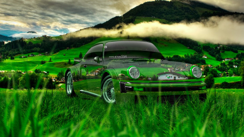 Porsche-911-Turbo-1976-Tuning-Crystal-Nature-Car-2014-Green-Grass-HD-Wallpapers-design-by-Tony-Kokhan-[www.el-tony.com]