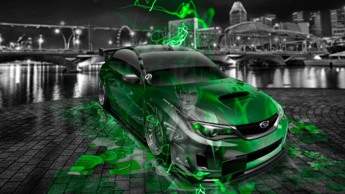 Subaru-Impreza-WRX-STI-JDM-Tuning-Anime-Bleach-Aerography-City-Car-2014-Green-Neon-Effects-HD-Wallpapers-design-by-Tony-Kokhan-[www.el-tony.com]