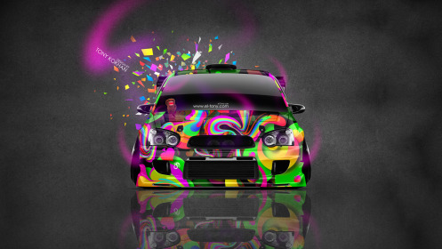 Subaru-Impreza-WRX-STI-JDM-Tuning-Front-Domo-Kun-Toy-Car-2014-Art-Multicolors-HD-Wallpapers-design-by-Tony-Kokhan-[www.el-tony.com]