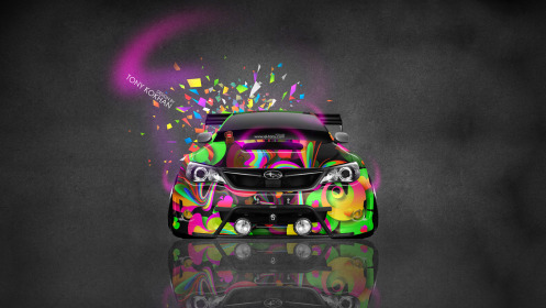 Subaru-Impreza-WRX-STI-JDM-Tuning-Front-Domo-Kun-Toy-Car-2014-Multicolors-HD-Wallpapers-design-by-Tony-Kokhan-[www.el-tony.com]