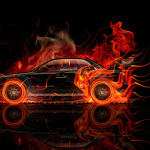 Subaru Impreza WRX STI Side Fire Abstract Car 2014
