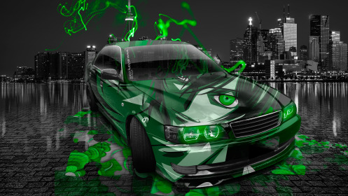 Toyota-Chaser-JZX100-JDM-Anime-Aerography-City-Car-2014-Green-Neon-Effects-HD-Wallpapers-design-by-Tony-Kokhan-[www.el-tony.com]