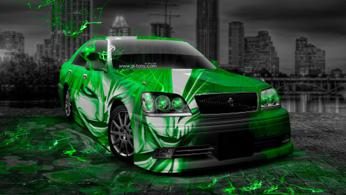Toyota-Crown-Athlete-JDM-Anime-Bleach-Aerography-City-Car-2014-Art-Green-Neon-Effects-HD-Wallpapers-design-by-Tony-Kokhan-[www.el-tony.com]