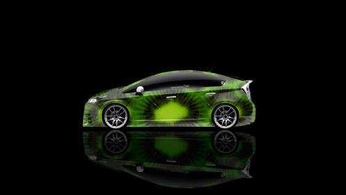 Toyota-Prius-Hybrid-Side-Kiwi-Aerography-Car-2014-Green-Colors-HD-Wallpapers-design-by-Tony-Kokhan-[www.el-tony.com]