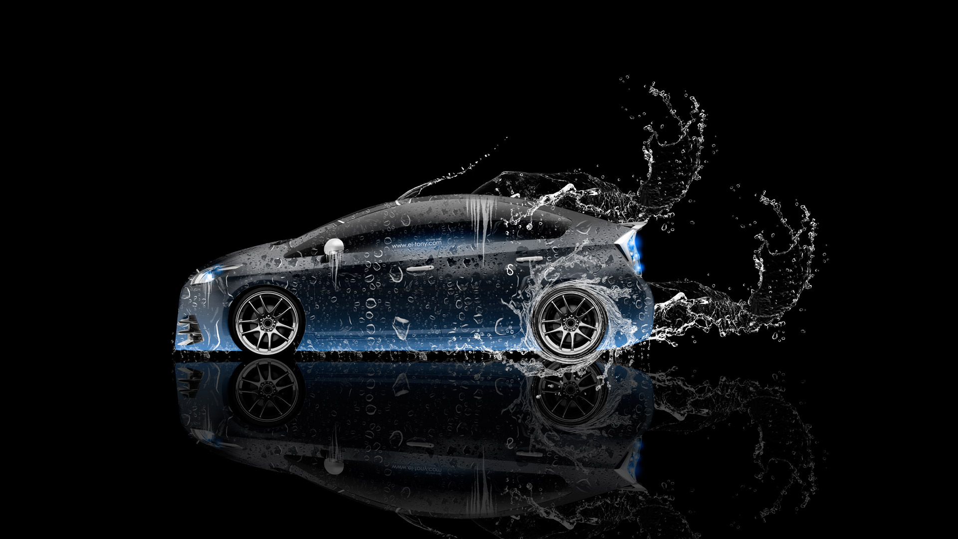 Toyota Prius Hybrid Side Water Car Blue Neon Hd Wallpapers Design By Tony Kokhan Www El Tony Com