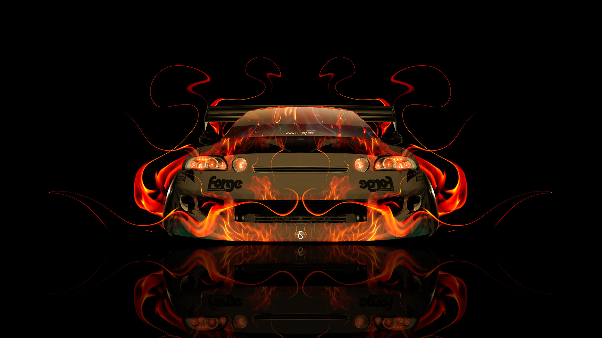 Toyota Soarer JDM Tuning Front Fire Abstract Car