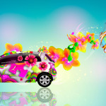 Toyota Vitz JDM Side Fantasy Butterfly Flowers Car 2014