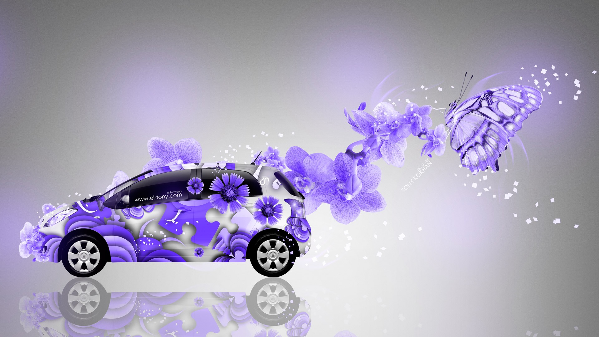 Toyota Vitz JDM Side Abstract Aerography Fantasy Butterfly  ...