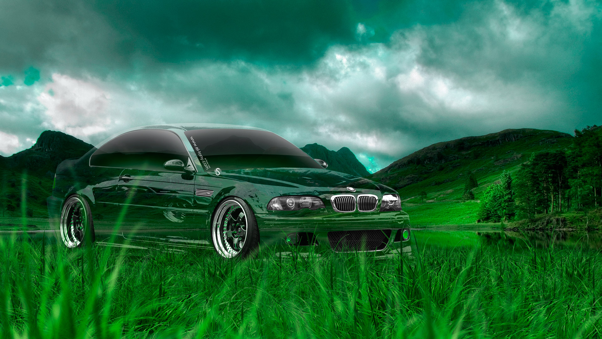 BMW-M3-Tuning-Crystal-Nature-Car-2014-Green-Grass-HD-Wallpapers-design-by-Tony-Kokhan-[www.el-tony.com]
