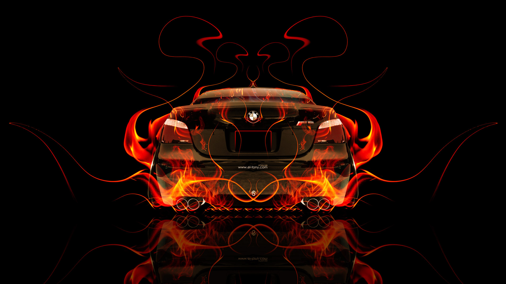 BMW M5 Back Fire Abstract Car 2014