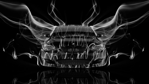 BMW-M5-Front-Smoke-Car-2014-Black-White-Colors-HD-Wallpapers-design-by-Tony-Kokhan-[www.el-tony.com]