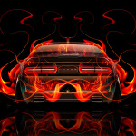 Dodge Challenger Muscle Back Fire Abstract Car 2014