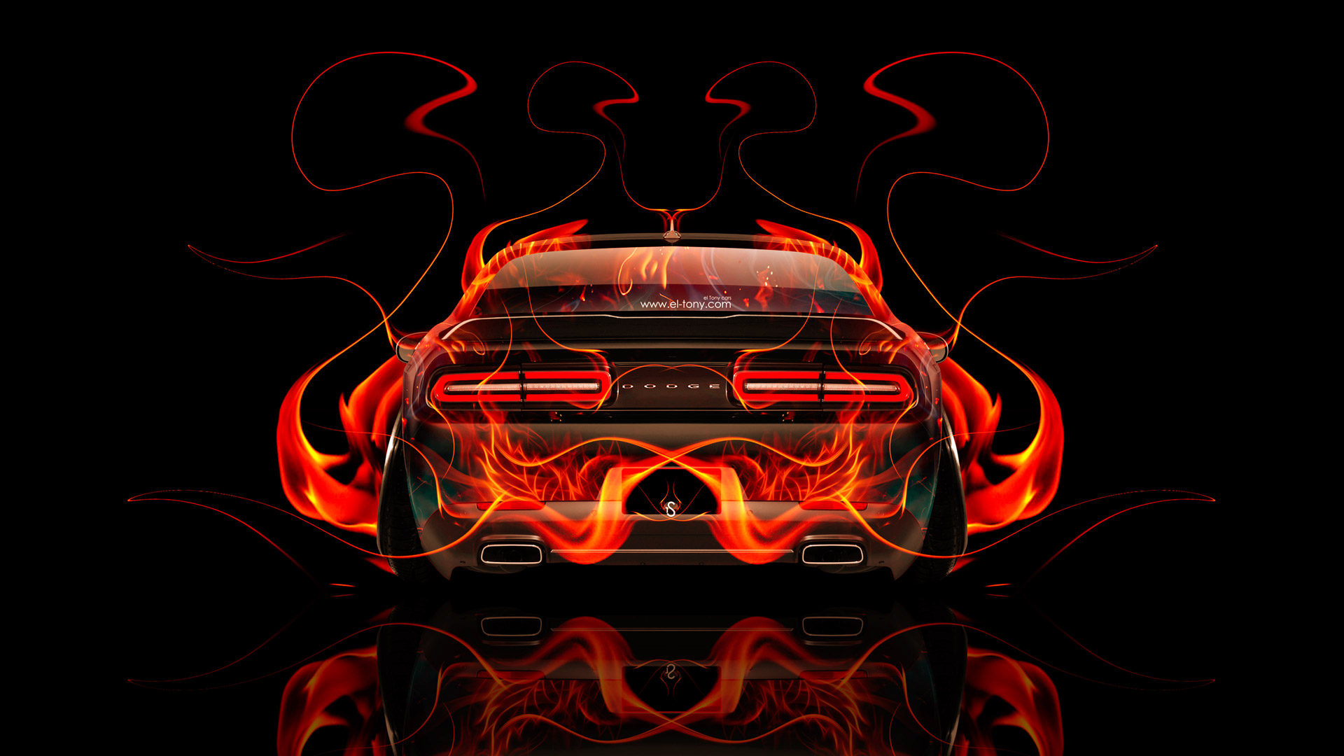 ... Dodge Challenger Muscle Back Fire Abstract Car 2014