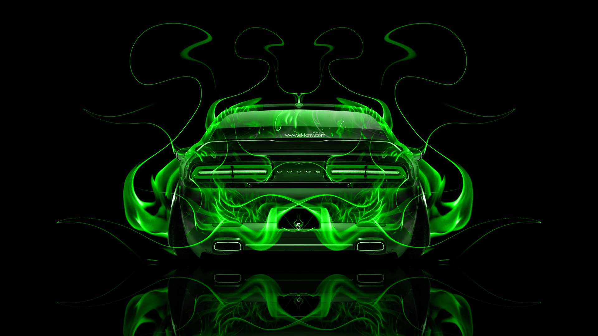 Dodge Challenger Muscle Back Fire Abstract Car 2014 El Tony