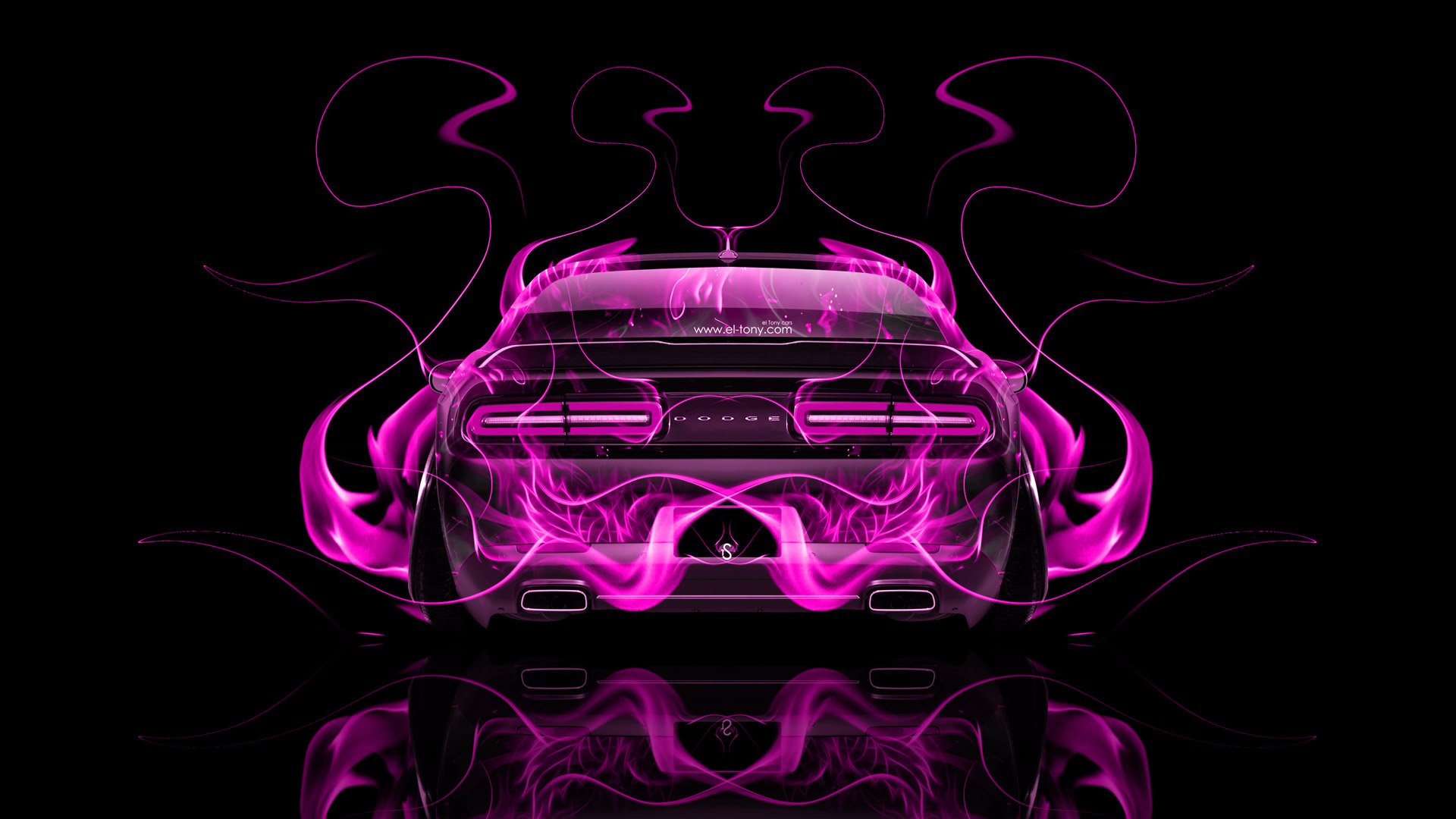 Nice Dodge Challenger Muscle Pink Fire Abstract Car 2014  ...