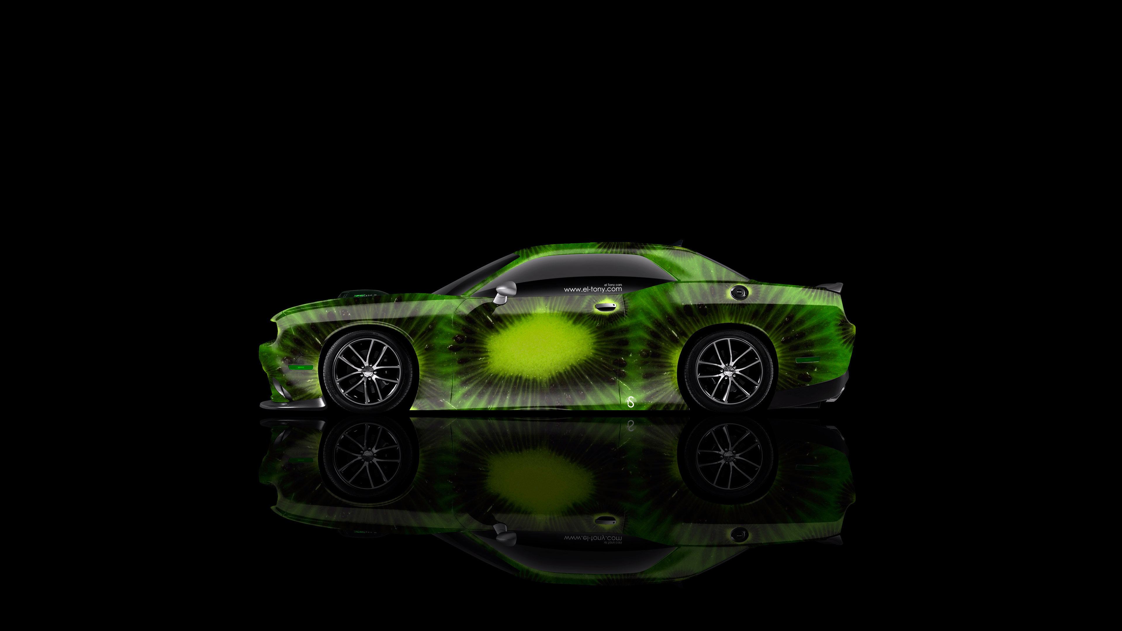 Dodge-Challenger-Muscle-Side-Kiwi-Aerography-Car-2014-Green-Colors-4K-Wallpapers-design-by-Tony-Kokhan-[www.el-tony.com]