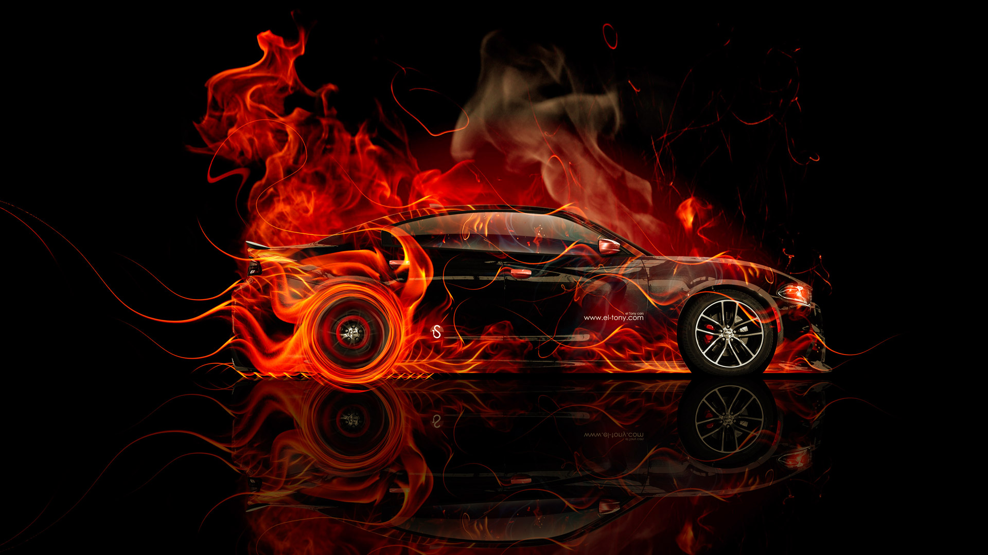 Dodge Charger RT Muscle Side Fire Abstract Car