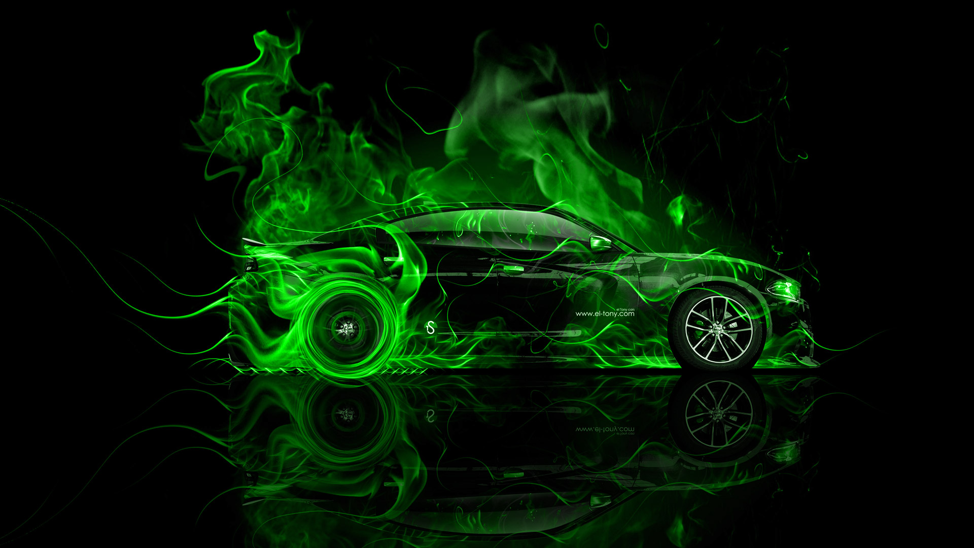 ... Dodge Charger RT Muscle Side Green Fire Abstract  ...