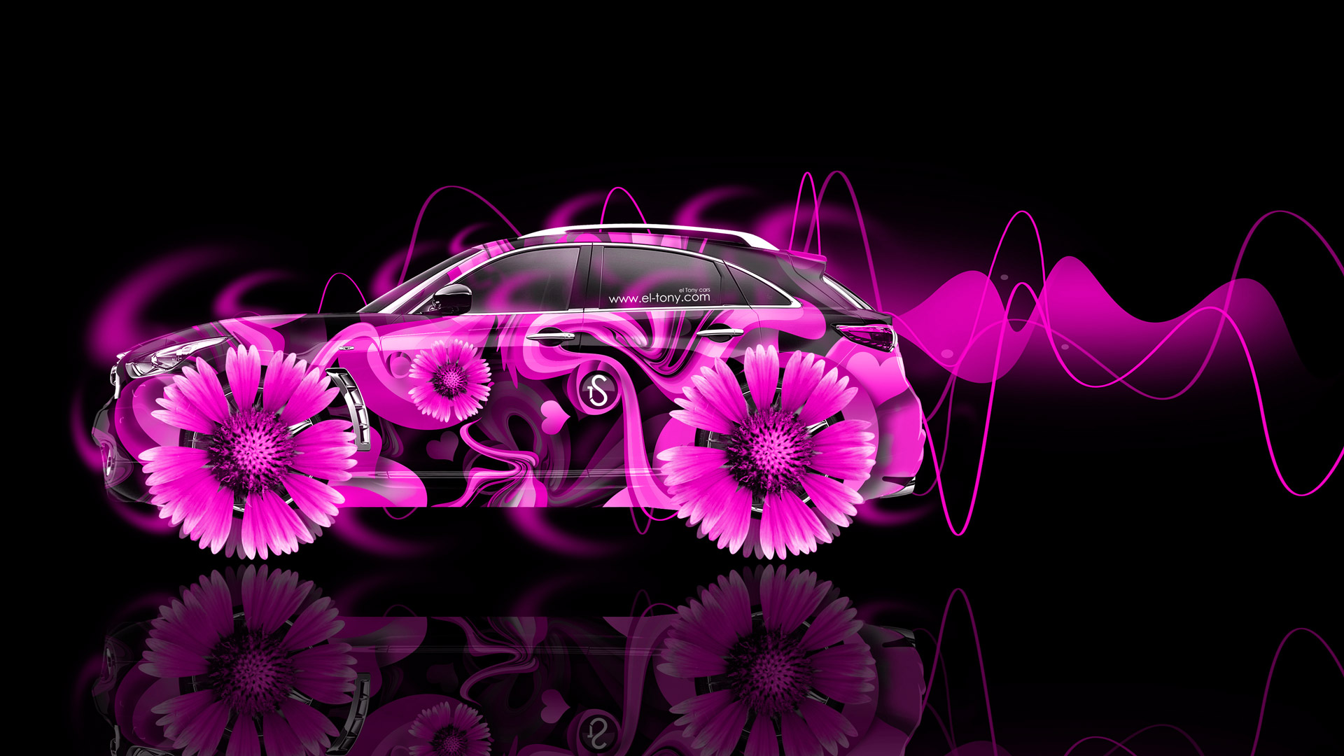 Infiniti FX Side Fantasy Flowers Abstract Aerography Car .