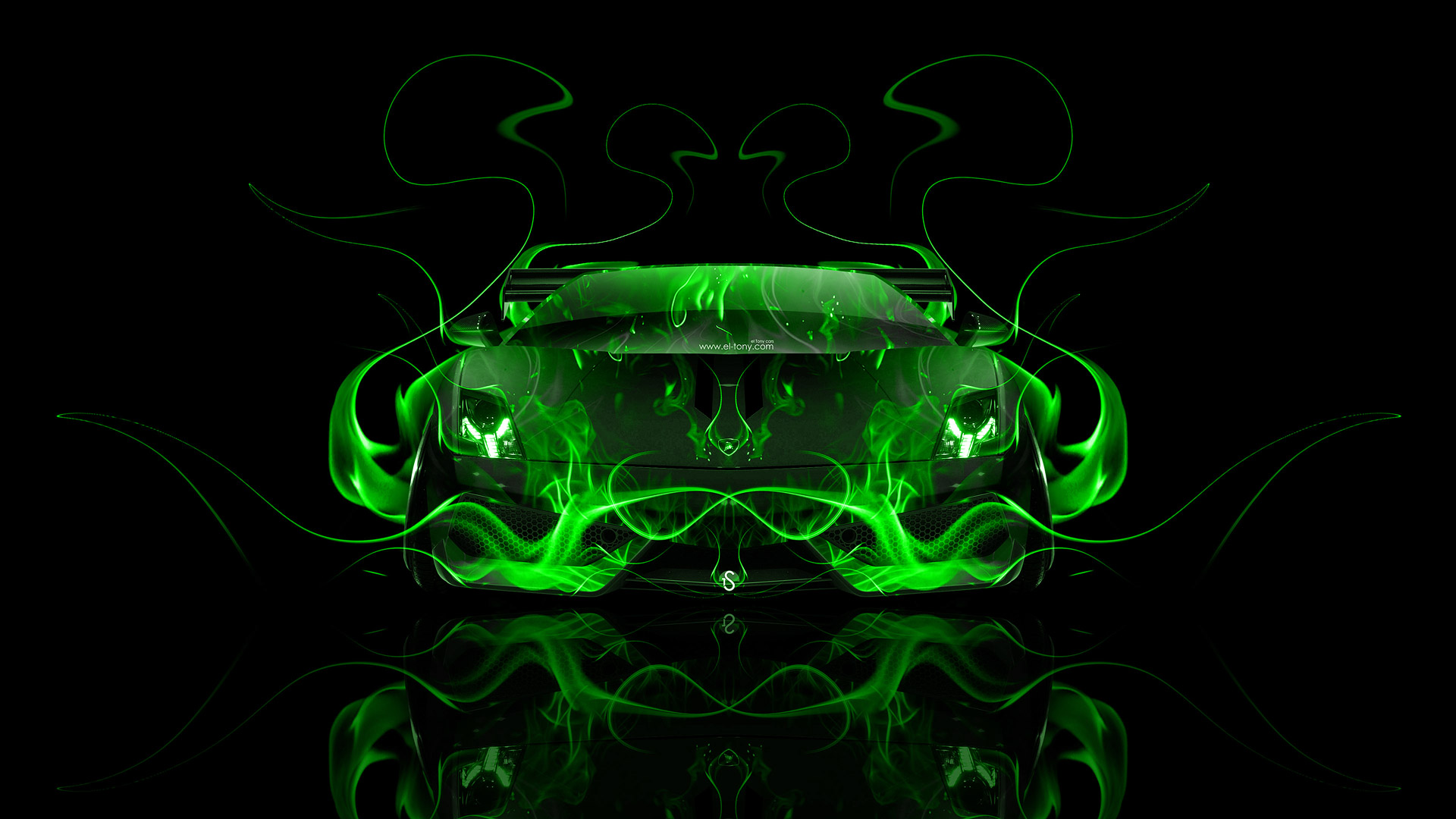 Lamborghini Gallardo Front Fire Abstract Car 2014 | El Tony
