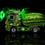 Mercedes-Benz Actros Side Kiwi Watermelon Car 2014