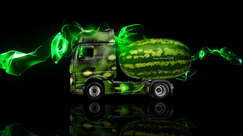 Mercedes-Benz-Actros-IV-Truck-Side-Kiwi-Aerography-Watermelon-Car-2014-Green-Neon-Effects-HD-Wallpapers-design-by-Tony-Kokhan-[www.el-tony.com]