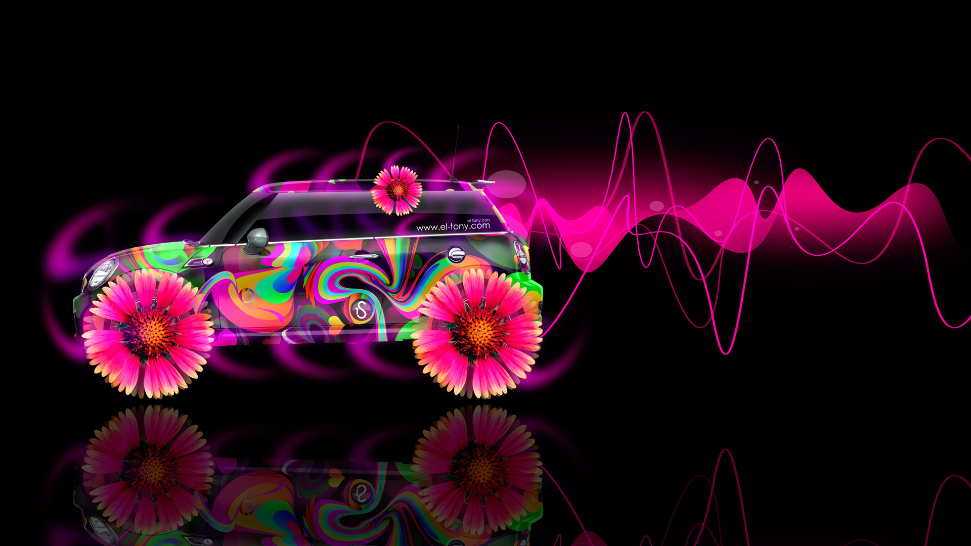 Mini-Cooper-Side-Fantasy-Flowers-Abstract-Aerography-Car-2014-Multicolors-HD-Wallpapers-design-by-Tony-Kokhan-[www.el-tony.com]