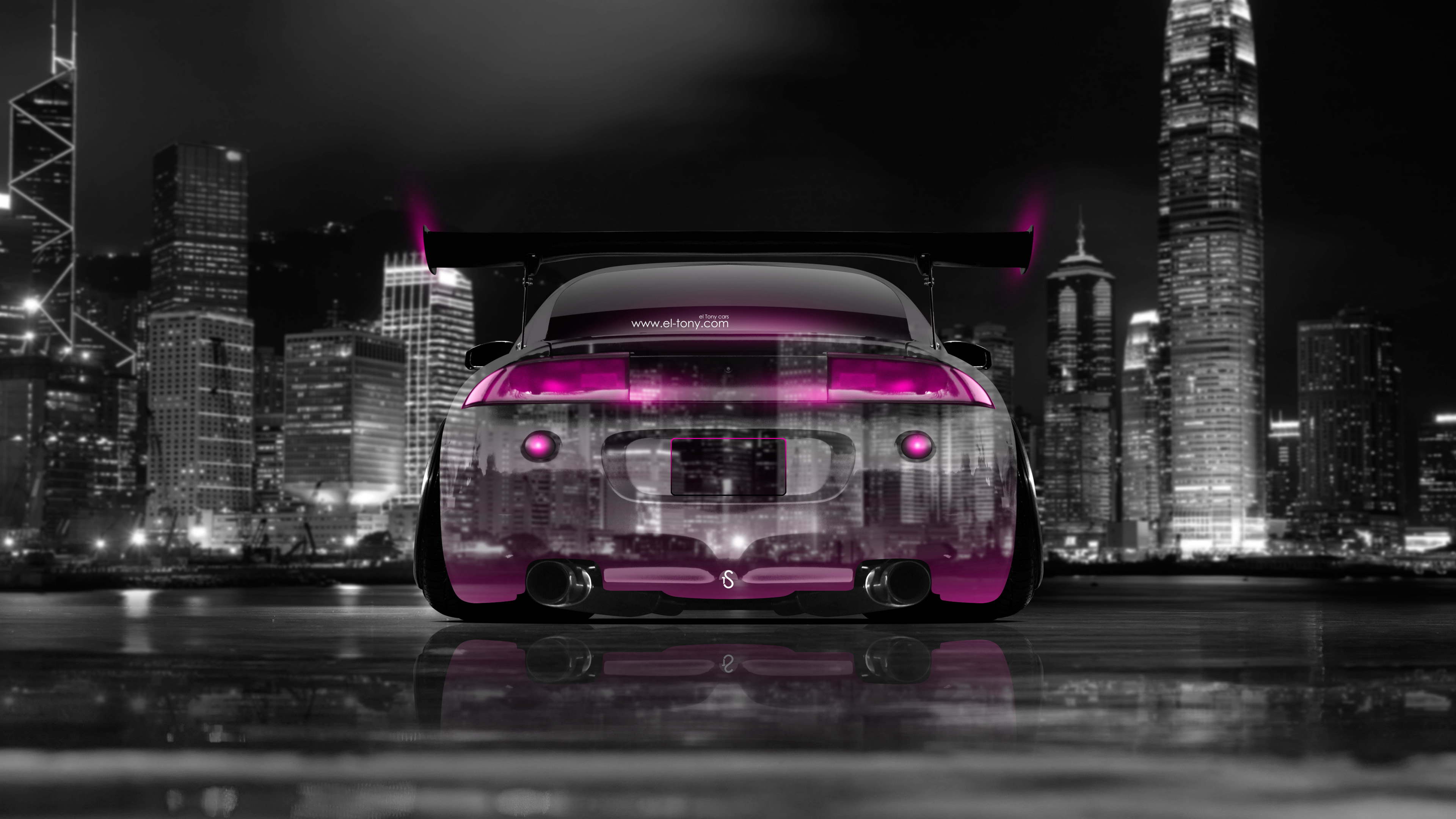 Mitsubishi Eclipse Jdm Tuning Back Crystal City Car Pink Neon K Wallpapers Design By Tony Kokhan Www El Tony Com