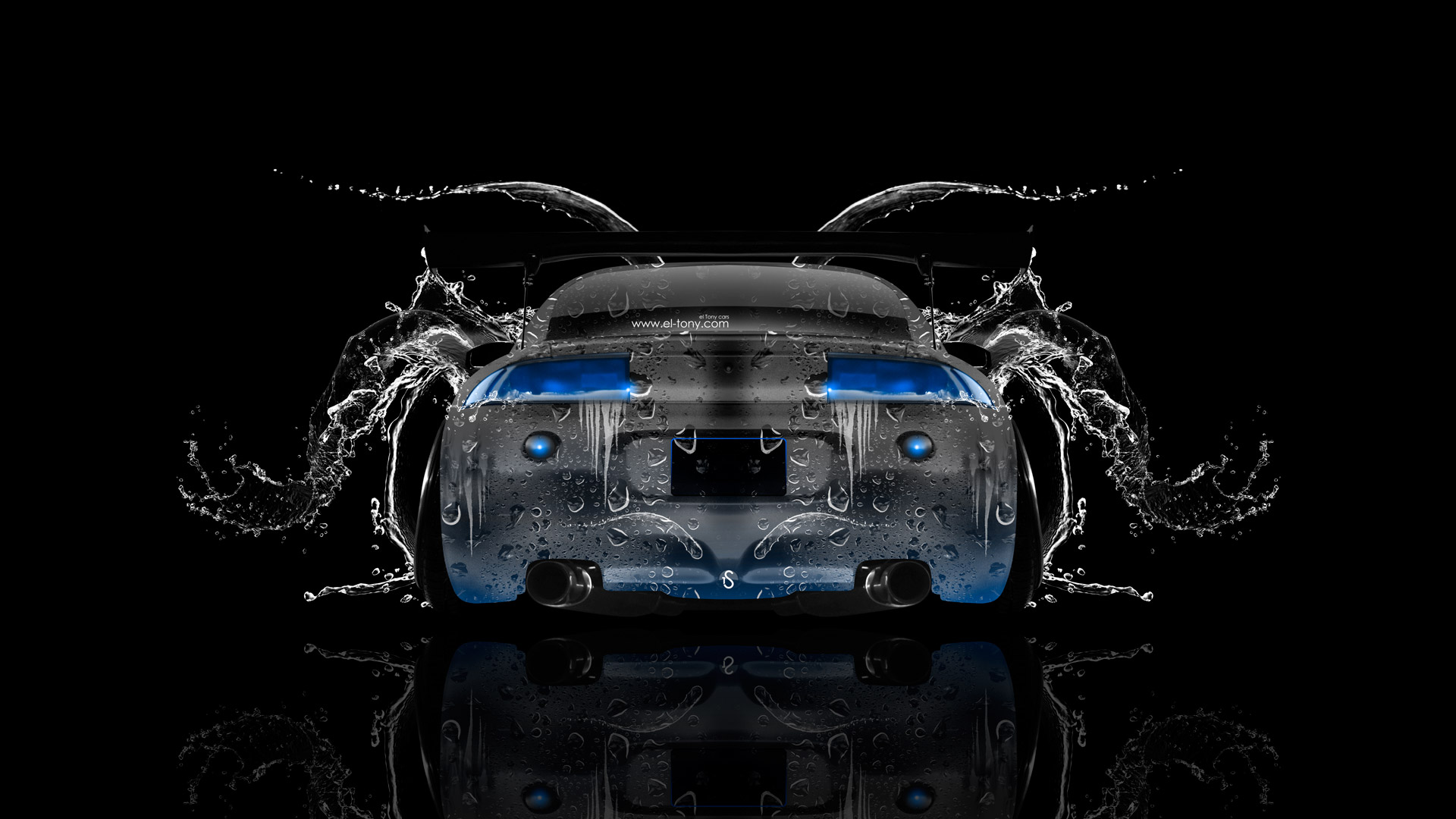 Mitsubishi-Eclipse-JDM-Tuning-Back-Water-Car-2014-Art-Blue-Neon-HD-Wallpapers-design-by-Tony-Kokhan-[www.el-tony.com]