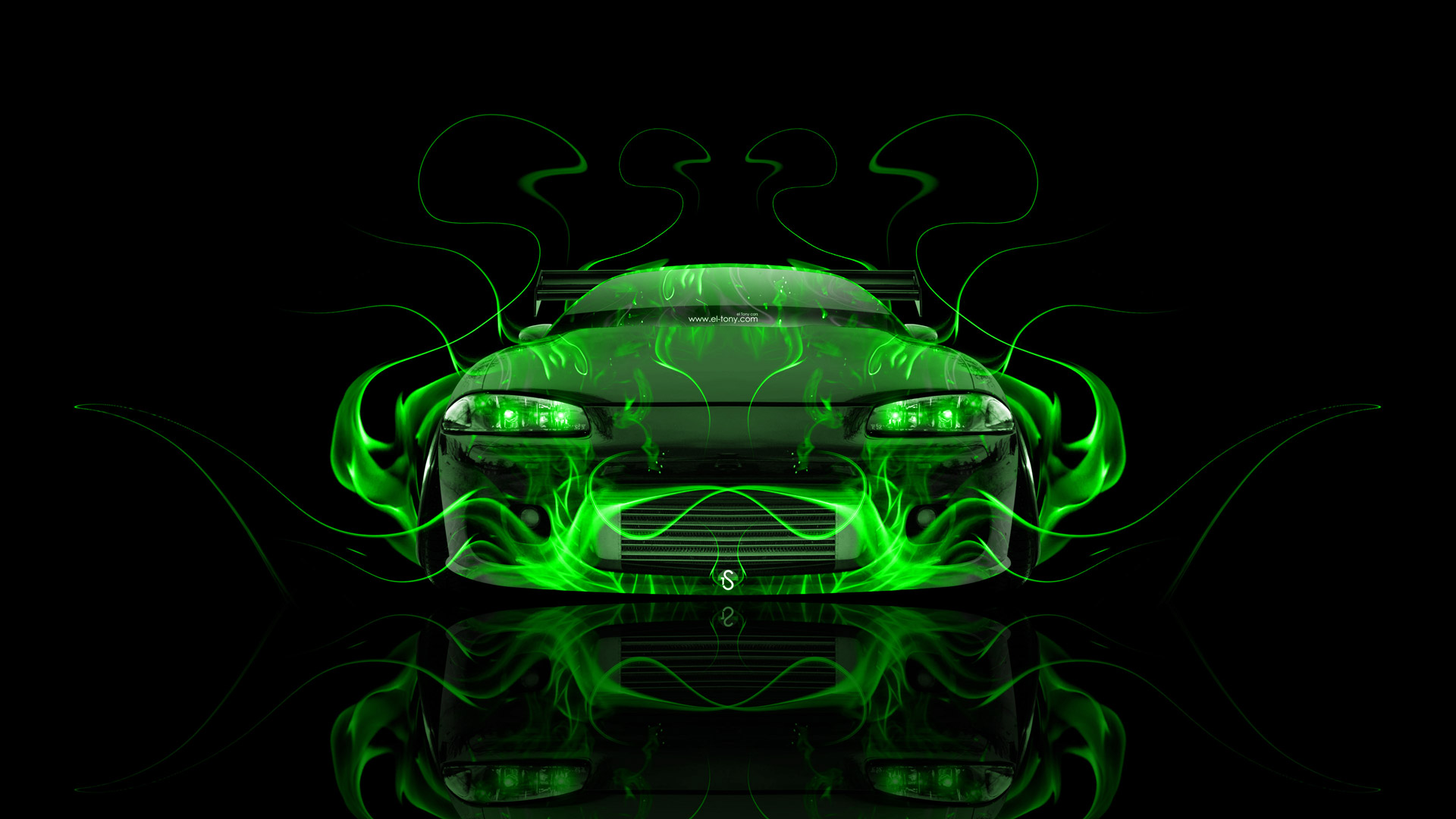 Superbe ... Mitsubishi Eclipse JDM Tuning Front Green Fire Abstract  ...