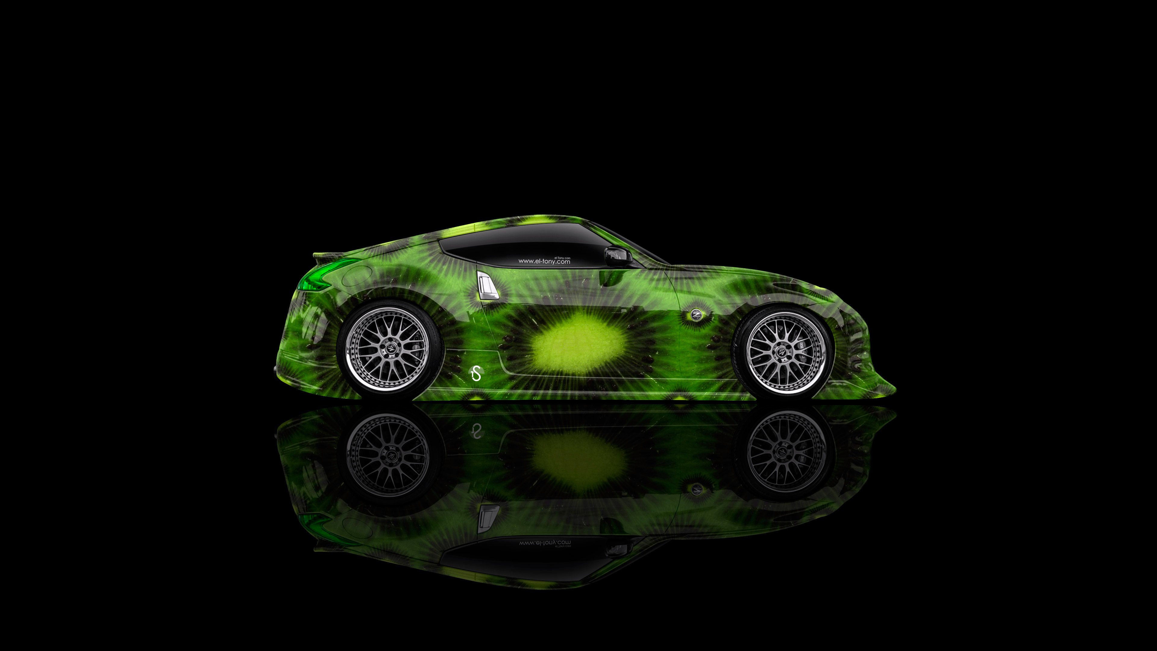 Nissan-370Z-JDM-Side-Kiwi-Aerography-Car-2014-Green-Colors-4K-Wallpapers-design-by-Tony-Kokhan-[www.el-tony.com]