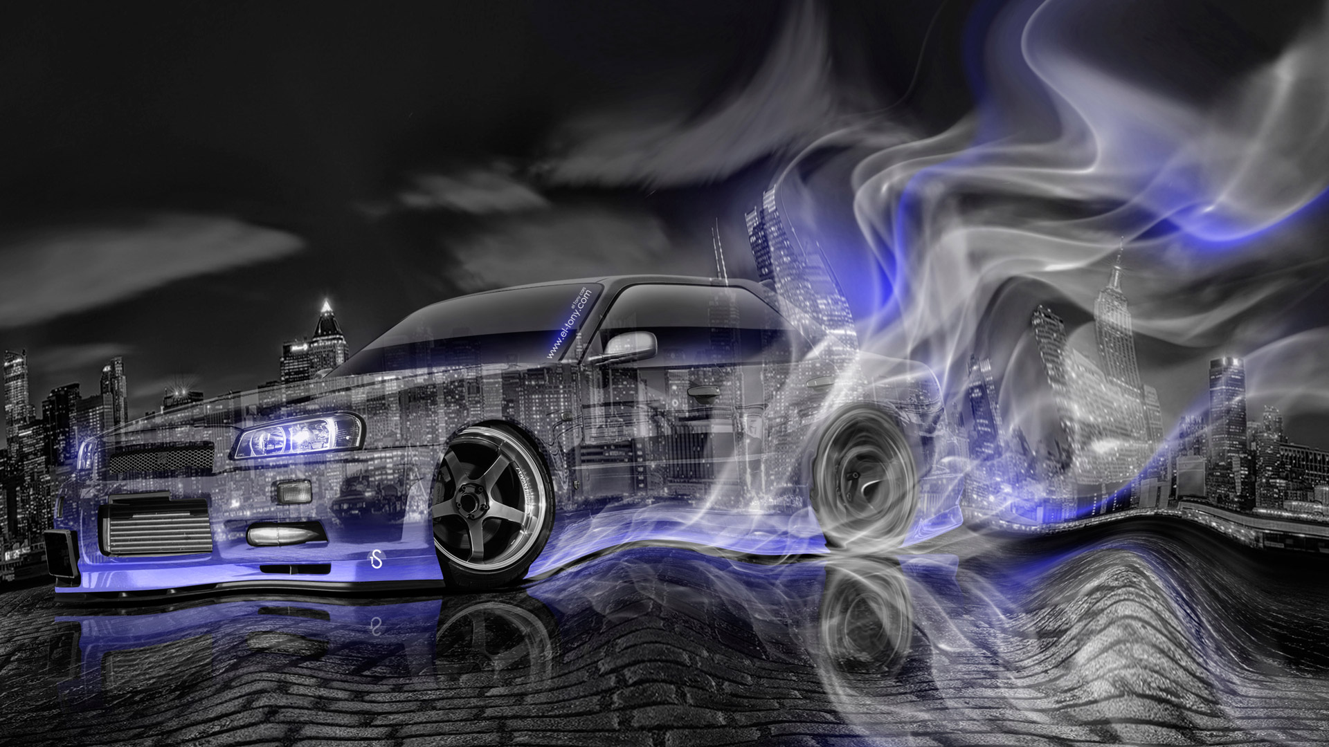 Nissan-Skyline-JDM-GT-Turbo-Sedan-R34-Tuning-Crystal-City-Smoke-Plastic-Drift-Car-2014-Violet-Neon-HD-Wallpapers-design-by-Tony-Kokhan-[www.el-tony.com]