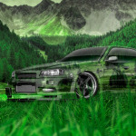 Nissan Skyline JDM R34 Sedan Tuning Crystal Nature Car 2014