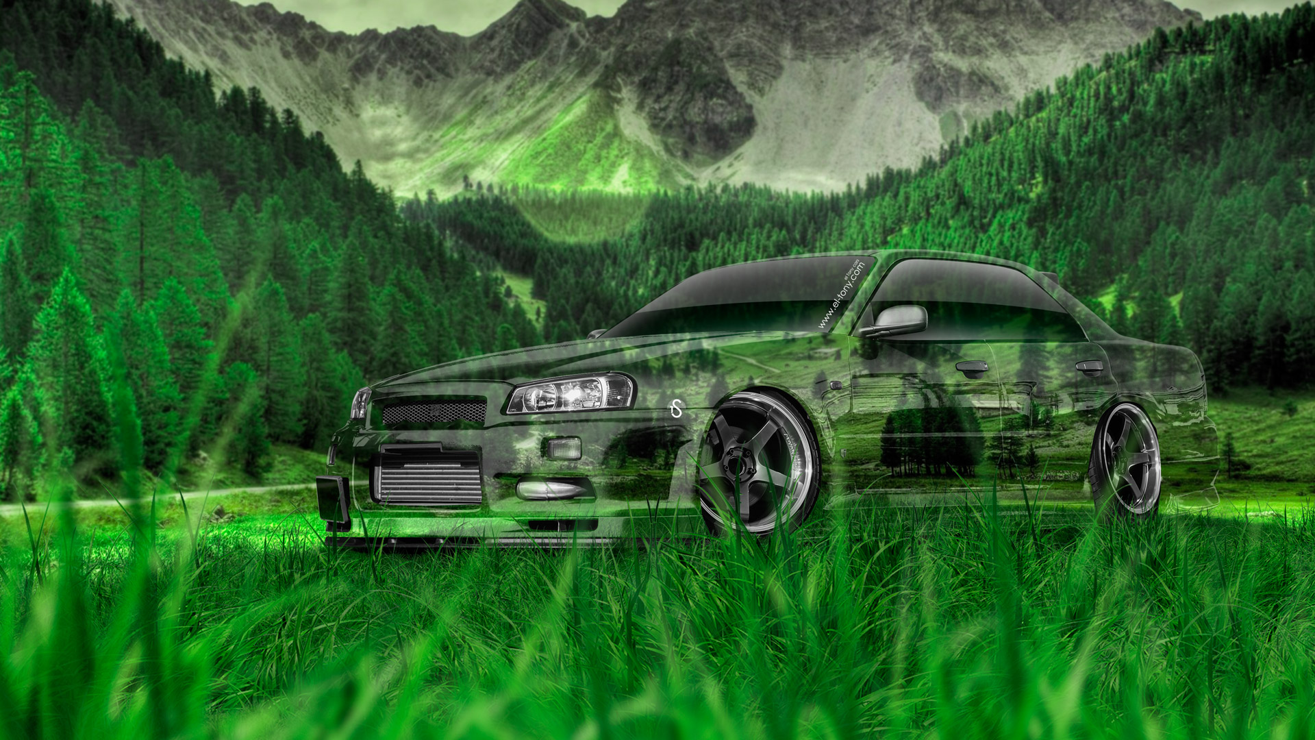 4K Nissan Skyline GTR R34 JDM Crystal Nature Car 2015 ...