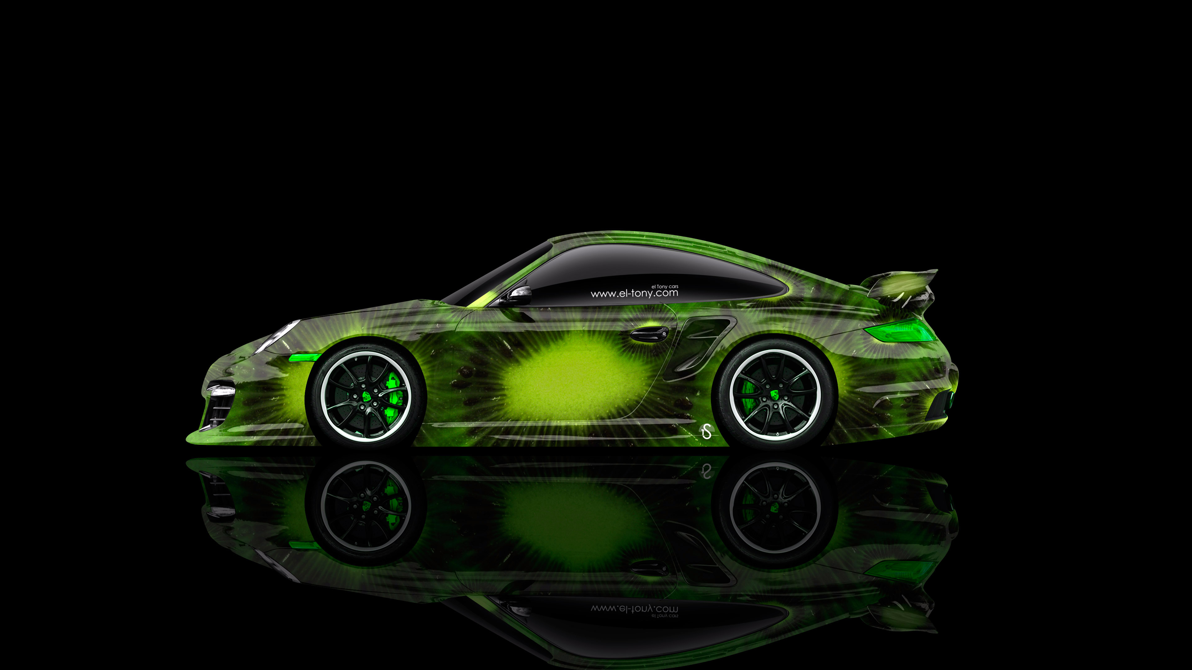 Porsche-911-GT2-Side-Kiwi-Aerography-Car-2014-Fruit-Art-Green-Colors-4K-Wallpapers-design-by-Tony-Kokhan-[www.el-tony.com]