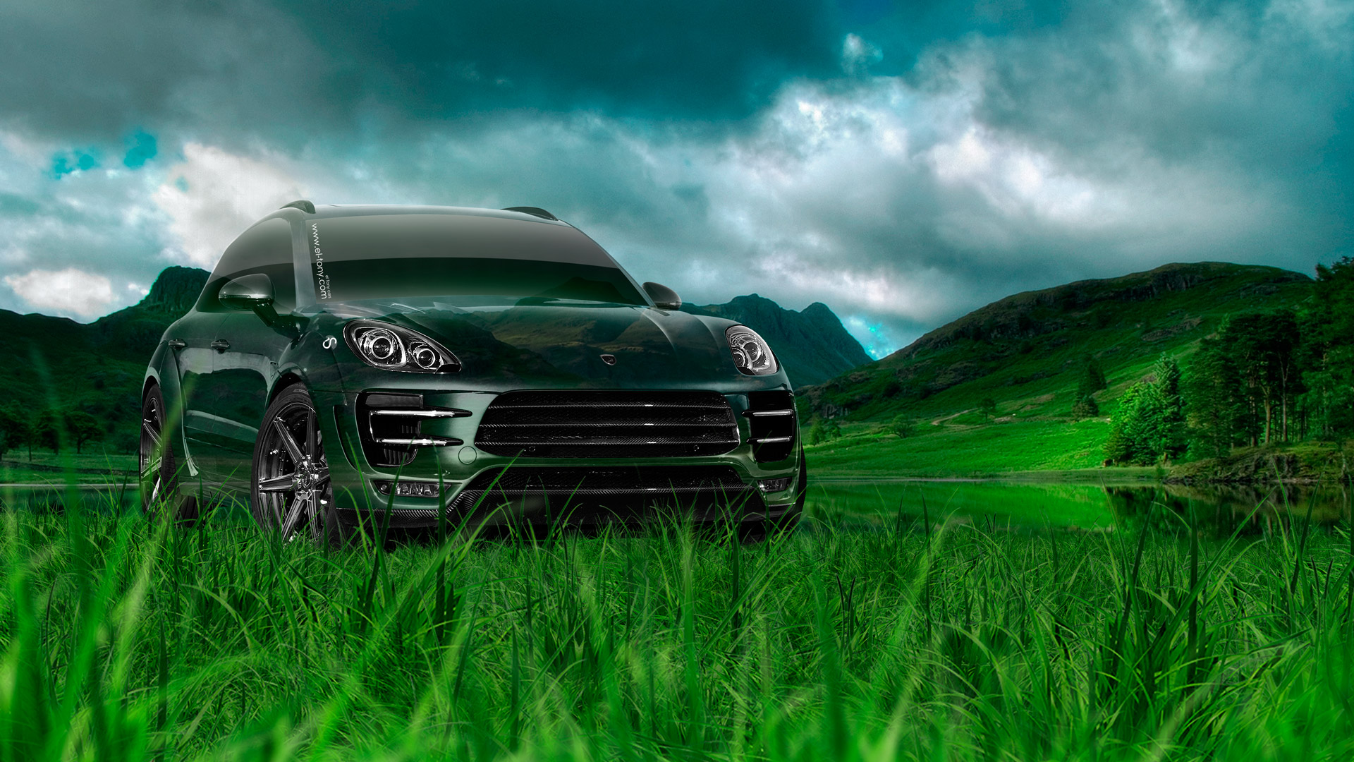 Porsche-Macan-Crossover-Crystal-Nature-Car-2014-Green-Grass-HD-Wallpapers-design-by-Tony-Kokhan-[www.el-tony.com]