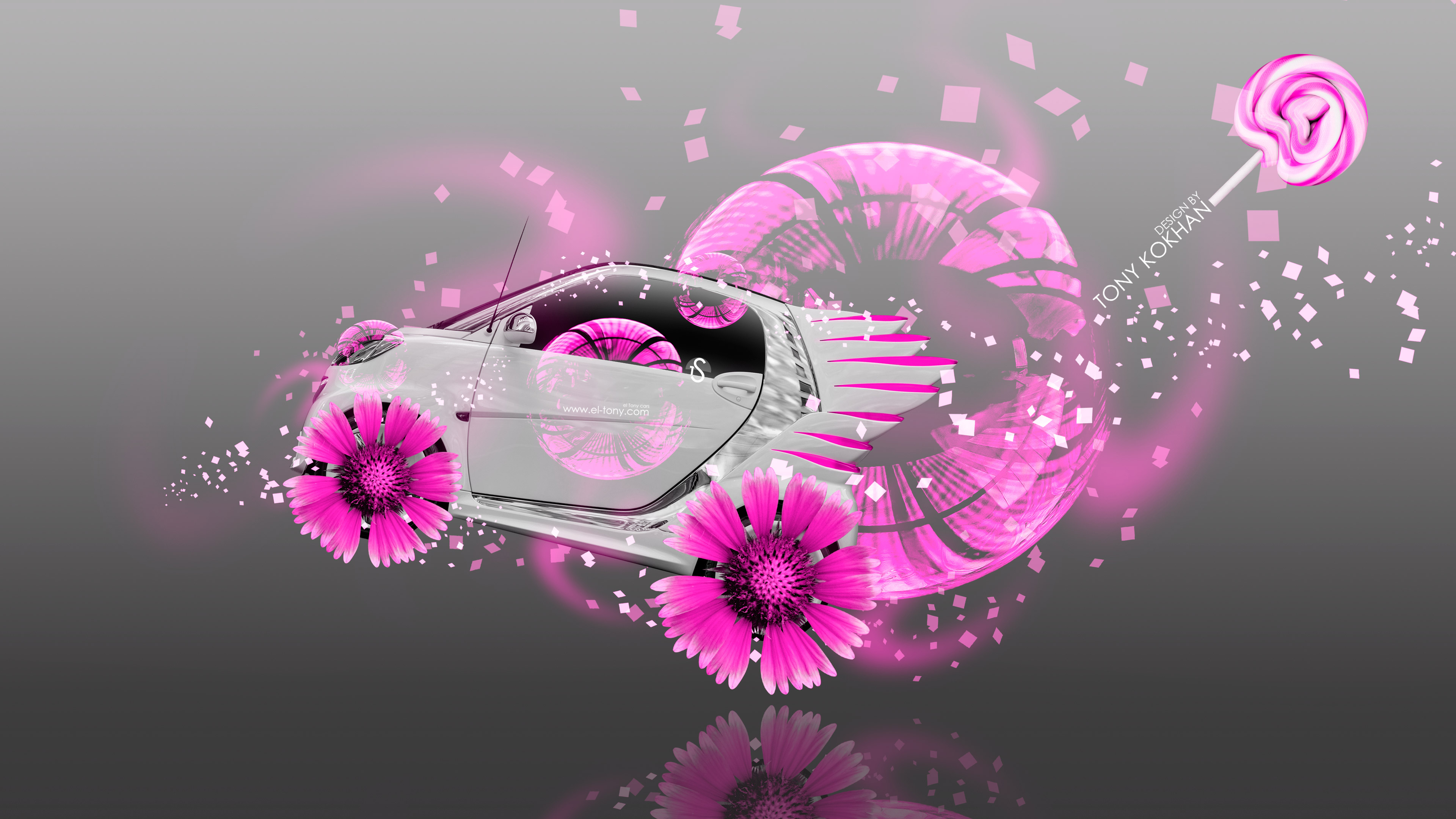 Smart-Electro-Side-Fantasy-Fly-Flowers-Car-2014-Pink-Neon-Colors-4K-Wallpapers-design-by-Tony-Kokhan-[www.el-tony.com]