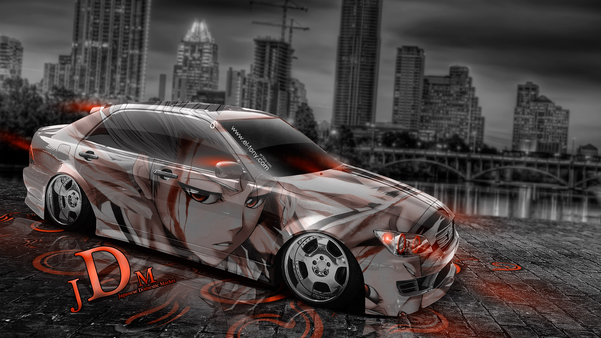 Toyota Altezza Tuning JDM Front Super Fire Flame Abstract Car 2016 .