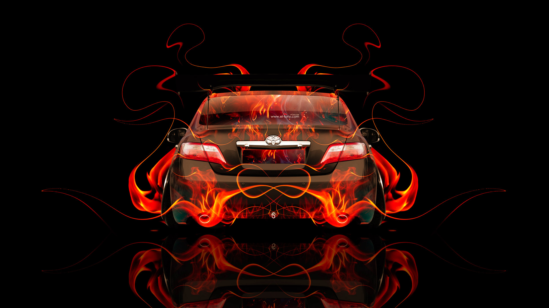 Toyota Camry JDM Tuning Back Fire Abstract Car